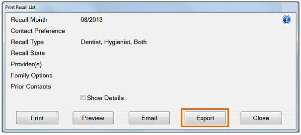 PrintRecallList-Export